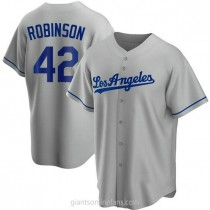 Mens Jackie Robinson Los Angeles Dodgers Replica Gray Road A592 Jersey