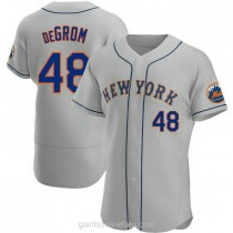 Mens Jacob Degrom New York Mets #48 Authentic Gray Road A592 Jerseys