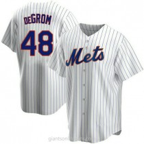 Mens Jacob Degrom New York Mets #48 Replica White Home A592 Jersey