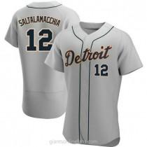 Mens Jarrod Saltalamacchia Detroit Tigers #12 Authentic Gray Road A592 Jerseys
