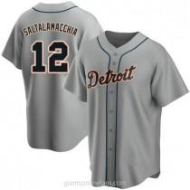 Mens Jarrod Saltalamacchia Detroit Tigers #12 Replica Gray Road A592 Jersey