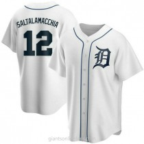 Mens Jarrod Saltalamacchia Detroit Tigers #12 Replica White Home A592 Jersey