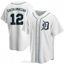 Mens Jarrod Saltalamacchia Detroit Tigers #12 Replica White Home A592 Jerseys