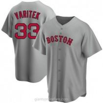 Mens Jason Varitek Boston Red Sox #33 Replica Gray Road A592 Jersey