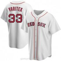 Mens Jason Varitek Boston Red Sox #33 Replica White Home A592 Jersey