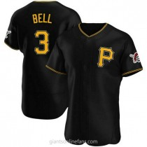 Mens Jay Bell Pittsburgh Pirates #3 Authentic Black Alternate A592 Jerseys