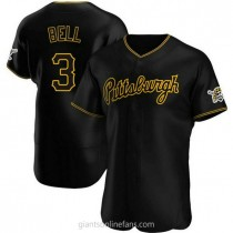 Mens Jay Bell Pittsburgh Pirates #3 Authentic Black Alternate Team A592 Jerseys