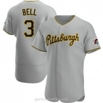 Mens Jay Bell Pittsburgh Pirates #3 Authentic Gray Road A592 Jerseys