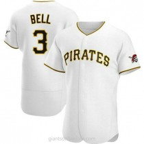 Mens Jay Bell Pittsburgh Pirates #3 Authentic White Home A592 Jersey