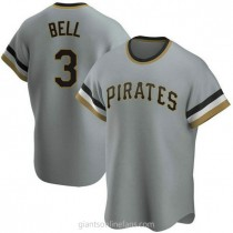 Mens Jay Bell Pittsburgh Pirates #3 Replica Gray Road Cooperstown Collection A592 Jersey