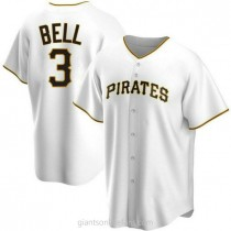 Mens Jay Bell Pittsburgh Pirates #3 Replica White Home A592 Jerseys