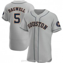 Mens Jeff Bagwell Houston Astros #5 Authentic Gray Road A592 Jersey