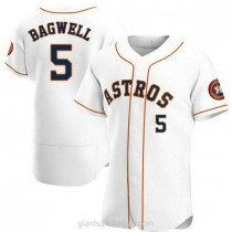 Mens Jeff Bagwell Houston Astros #5 Authentic White Home A592 Jersey