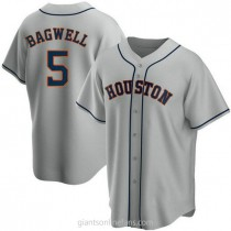 Mens Jeff Bagwell Houston Astros #5 Replica Gray Road A592 Jersey