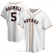 Mens Jeff Bagwell Houston Astros #5 Replica White Home A592 Jersey