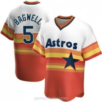 Mens Jeff Bagwell Houston Astros #5 Replica White Home Cooperstown Collection A592 Jerseys