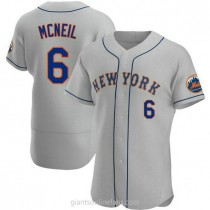 Mens Jeff Mcneil New York Mets #6 Authentic Gray Road A592 Jerseys