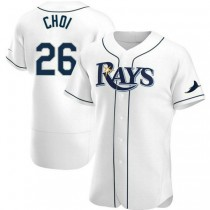 Mens Ji Man Choi Tampa Bay Rays #26 Authentic White Home A592 Jerseys