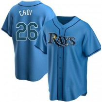 Mens Ji Man Choi Tampa Bay Rays Replica Light Blue Alternate A592 Jersey