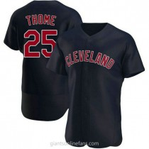Mens Jim Thome Cleveland Indians #25 Authentic Navy Alternate A592 Jersey