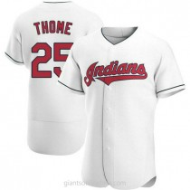 Mens Jim Thome Cleveland Indians #25 Authentic White Home A592 Jersey