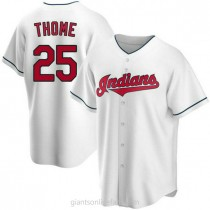 Mens Jim Thome Cleveland Indians #25 Replica White Home A592 Jersey