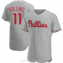 Mens Jimmy Rollins Philadelphia Phillies #11 Authentic Gray Road A592 Jersey