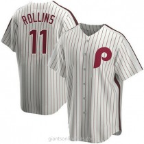 Mens Jimmy Rollins Philadelphia Phillies #11 Replica White Home Cooperstown Collection A592 Jersey