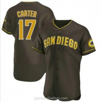 Mens Joe Carter San Diego Padres #17 Authentic Brown Road A592 Jersey