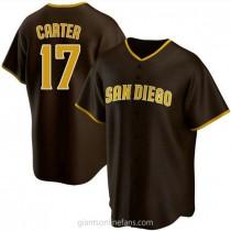 Mens Joe Carter San Diego Padres Replica Brown Road A592 Jersey