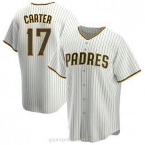 Mens Joe Carter San Diego Padres Replica White Brown Home A592 Jersey