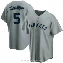 Mens Joe Dimaggio New York Yankees #5 Replica Gray Road Cooperstown Collection A592 Jerseys
