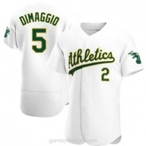 Mens Joe Dimaggio Oakland Athletics #5 Authentic White Home A592 Jersey