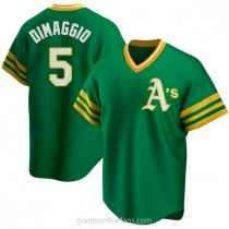 Mens Joe Dimaggio Oakland Athletics #5 Replica Green R Kelly Road Cooperstown Collection A592 Jersey