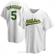 Mens Joe Dimaggio Oakland Athletics #5 Replica White Home A592 Jerseys