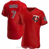 Mens Joe Mauer Minnesota Twins #7 Authentic Red Alternate A592 Jerseys