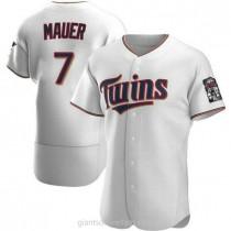 Mens Joe Mauer Minnesota Twins #7 Authentic White Home A592 Jersey