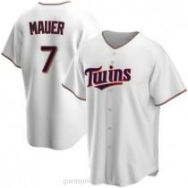 Mens Joe Mauer Minnesota Twins #7 Replica White Home A592 Jerseys