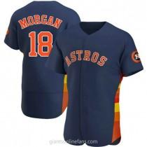 Mens Joe Morgan Houston Astros #18 Authentic Navy Alternate A592 Jerseys