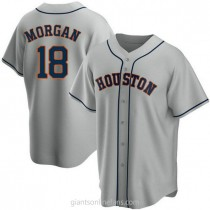 Mens Joe Morgan Houston Astros #18 Replica Gray Road A592 Jersey