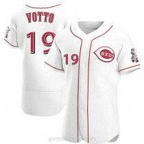 Mens Joey Votto Cincinnati Reds #19 Authentic White Home A592 Jersey