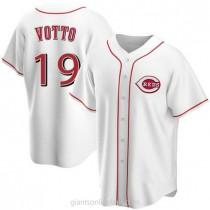 Mens Joey Votto Cincinnati Reds #19 Replica White Home A592 Jersey