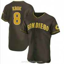 Mens John Kruk San Diego Padres #8 Authentic Brown Road A592 Jersey