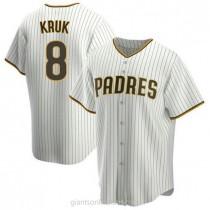 Mens John Kruk San Diego Padres #8 Replica White Brown Home A592 Jersey