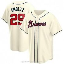 Mens John Smoltz Atlanta Braves #29 Replica Cream Alternate A592 Jerseys
