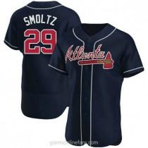 Mens John Smoltz Atlanta Braves Authentic Navy Alternate A592 Jersey