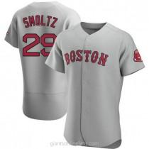 Mens John Smoltz Boston Red Sox Authentic Gray Road A592 Jersey