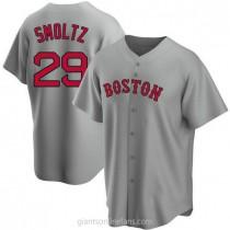 Mens John Smoltz Boston Red Sox Replica Gray Road A592 Jersey