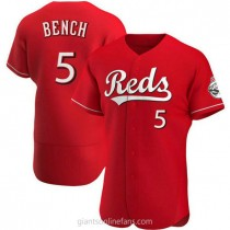 Mens Johnny Bench Cincinnati Reds #5 Authentic Red Alternate A592 Jersey