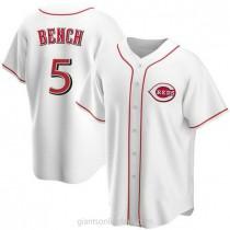 Mens Johnny Bench Cincinnati Reds #5 Replica White Home A592 Jersey